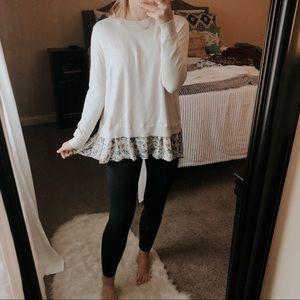 Time & Tru Floral Trim Pullover Sweater